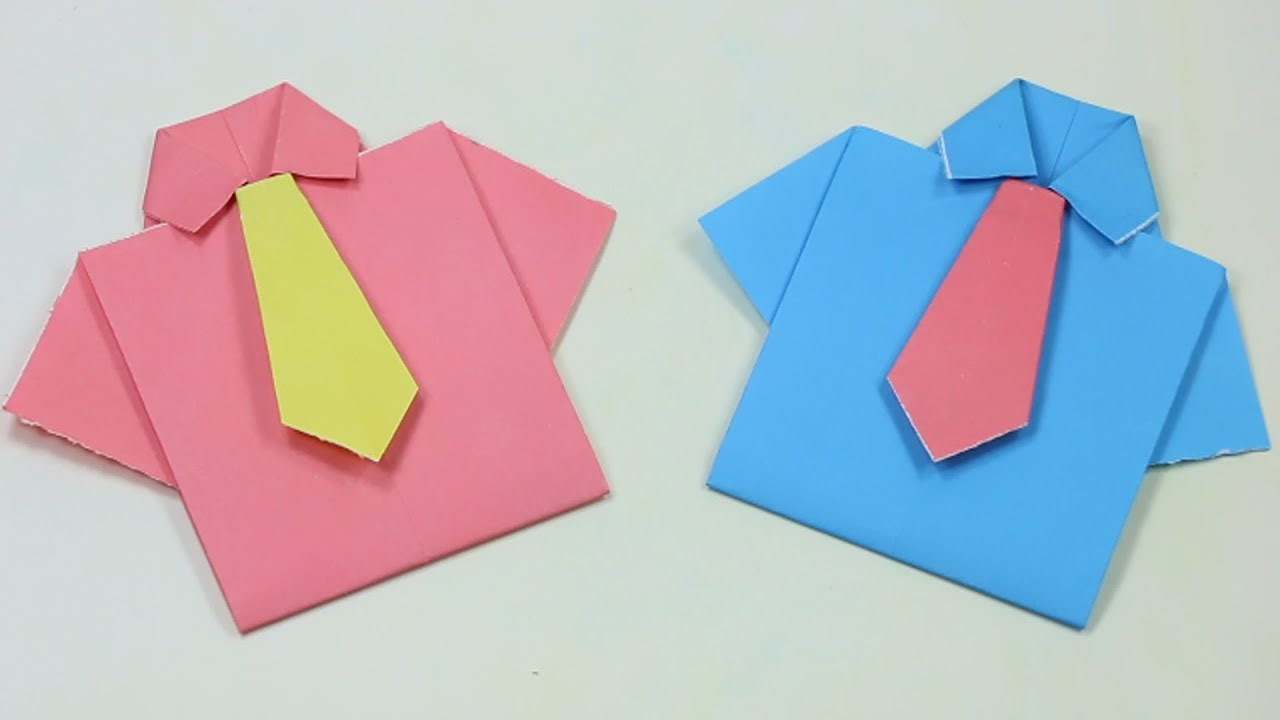 Origami Shirt And Tie How To Make Paper Shirt And Tie Easy Origamihow To Make An Easy Origami Shirt Card For Fathers Day