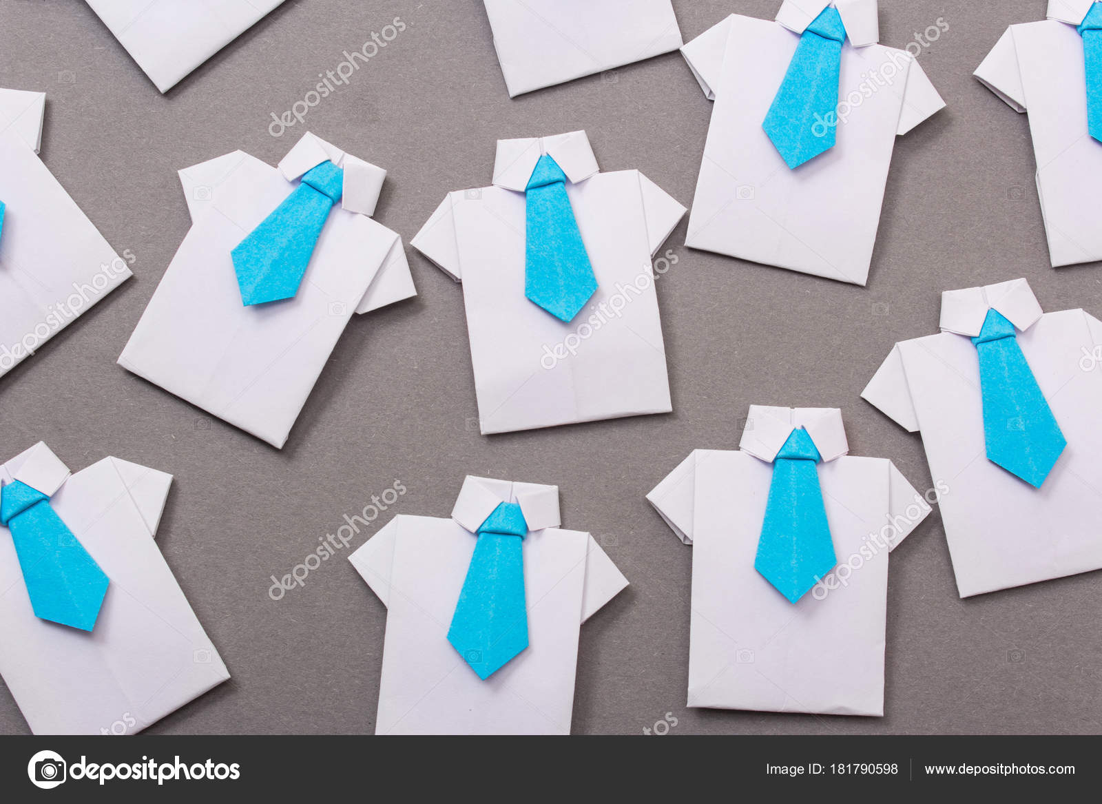 Origami Shirt And Tie Office Workers Shirt Tie Made Paper Origami Copy Space Text Stock