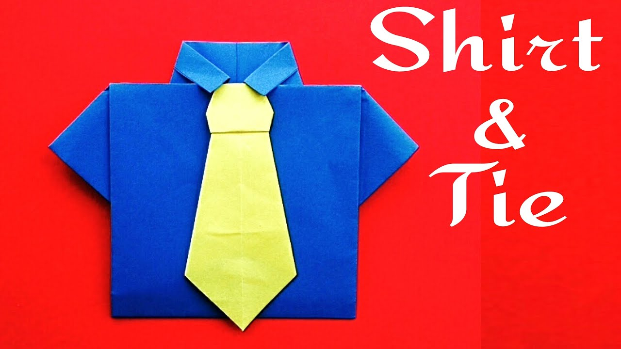 Origami Shirt And Tie Shirt And Neck Tie No Glue Required For Fathers Day Diy Origami Tutorial Paper Folds