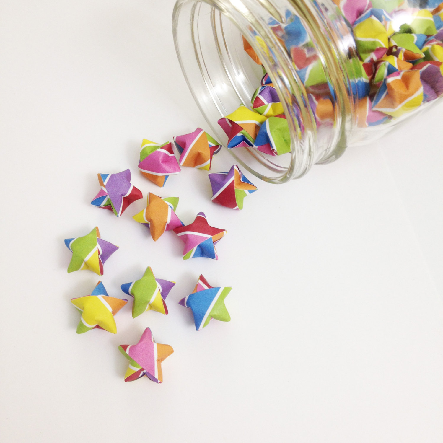 Origami Star Decorations 48 Rainbow Origami Stars Stripes Mini Star Decorations Folded Paper Lucky Stars Gay Pride Red Orange Yellow Pink Blue Purple