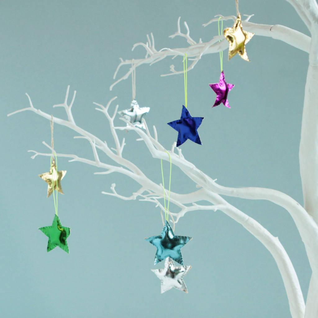 Origami Star Decorations 4x Colourful Star Tree Decorations