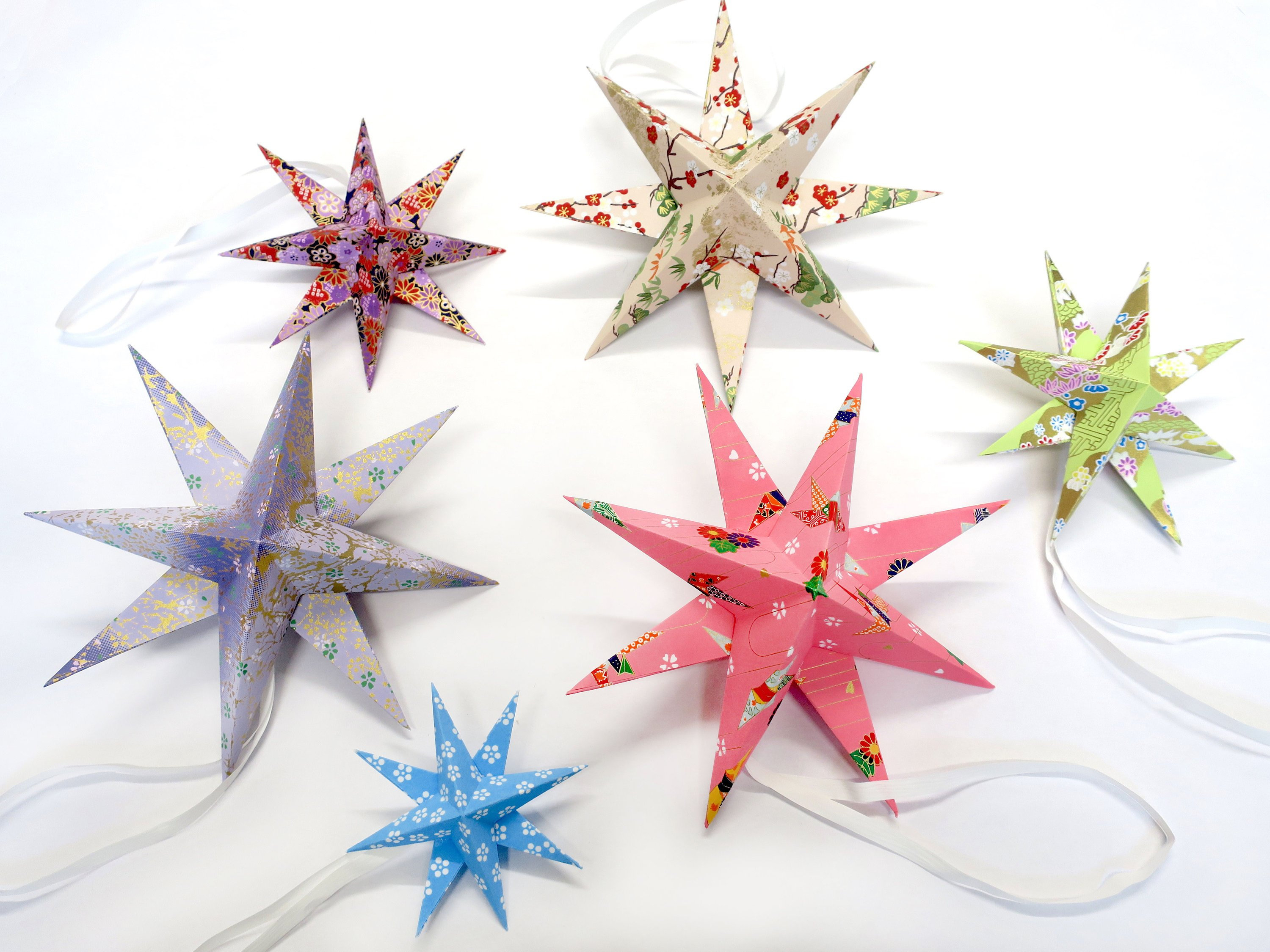 Origami Star Decorations 6 Handmade Origami Stars Hanging Decoration Homemade Gift Idea Home Decoration 3d Origami Japanese Crane Floral Nursery Mobile