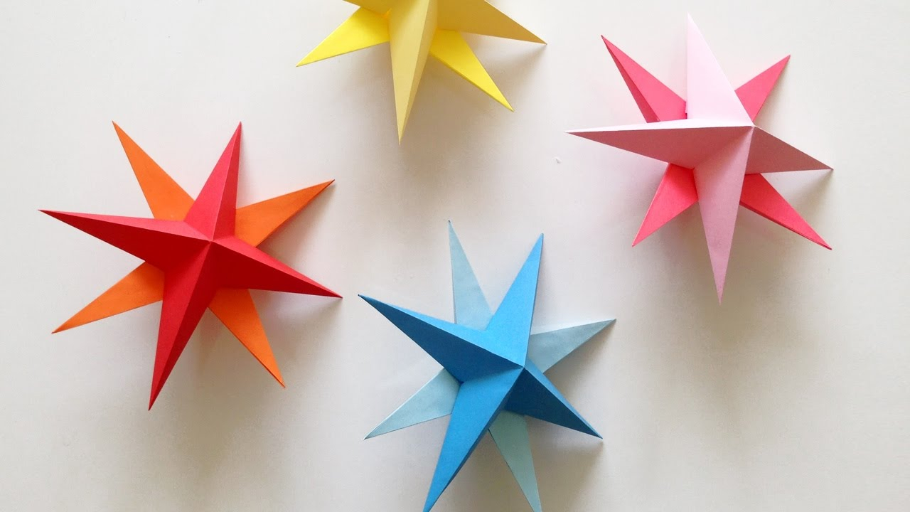 Origami Star Decorations Diy Hanging Paper 3d Star Tutorial For Christmas Birthday Party Decorations