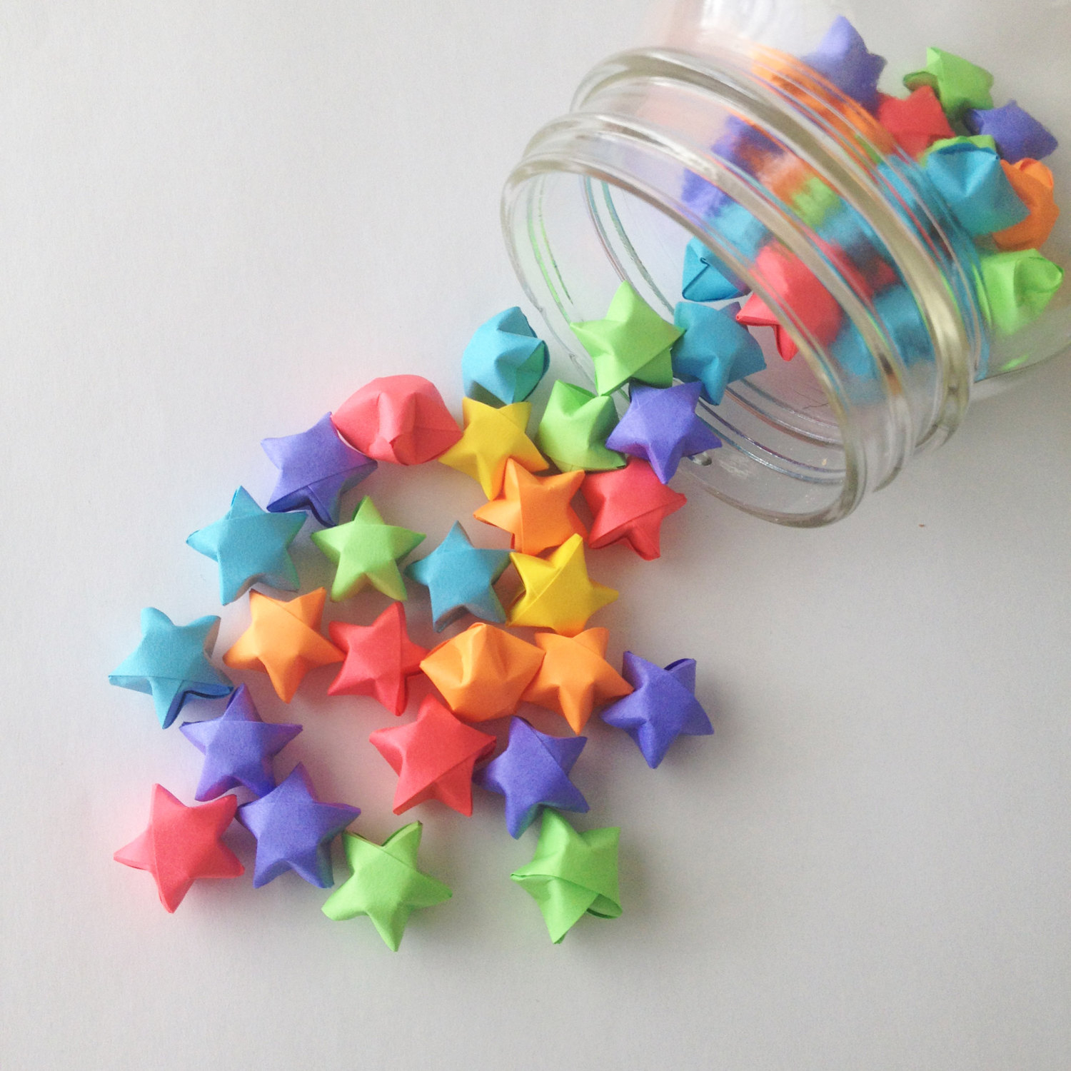 Origami Star Decorations Neon Rainbow Origami Stars Red Orange Yellow Green Blue Purple Mini Star Decorations Folded Paper Lucky Stars Pride Lgbt