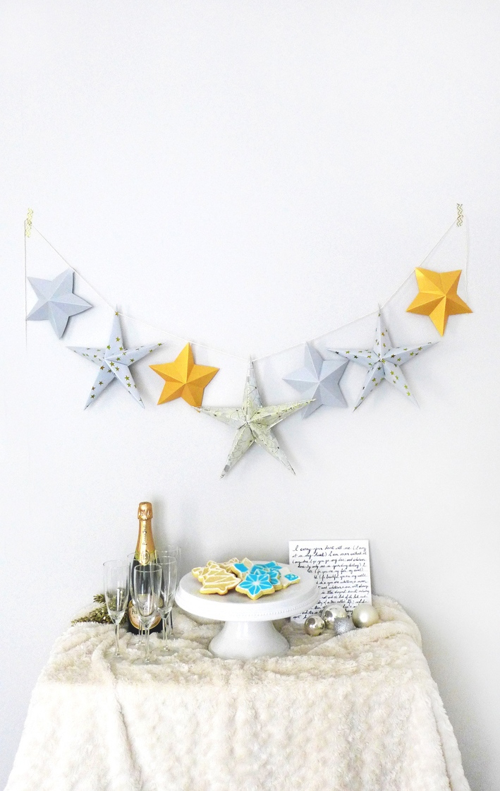 Origami Star Decorations Origami Star Paper Garland Tutorial Simple Holiday Wall Decoration