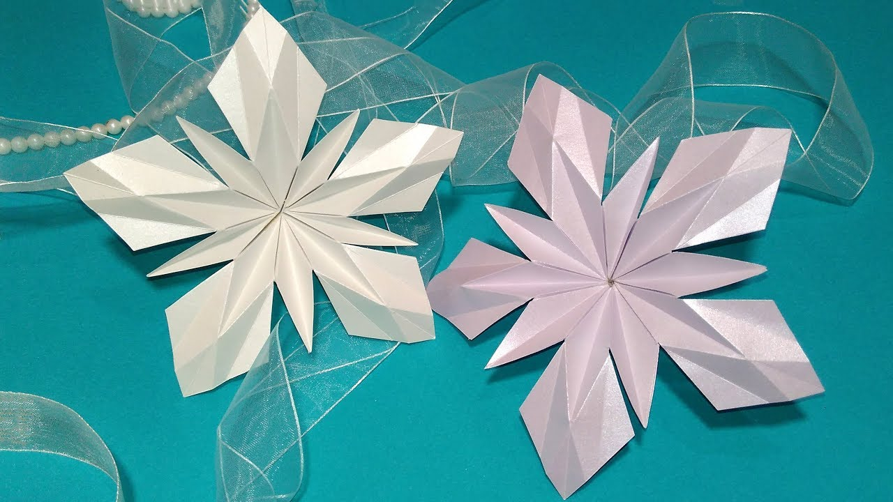 Origami Star Decorations Paper Snowflake In Origami Style Origami Star Ideas For Christmas Decorations