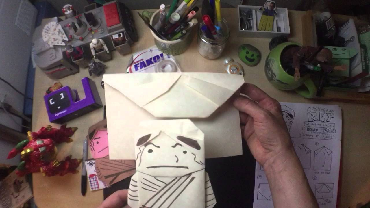 Origami Star Wars Characters How To Fold Star Wars Origami Rey New Instructions From Origami Yoda Author Tom A