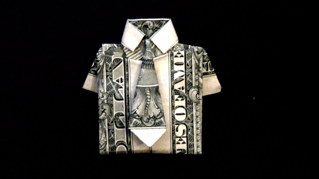 Origami T Shirt With Tie Dollar Origami Shirt Tie Tutorial How To Fold A Dollar Bill In To A Shirt And Tie