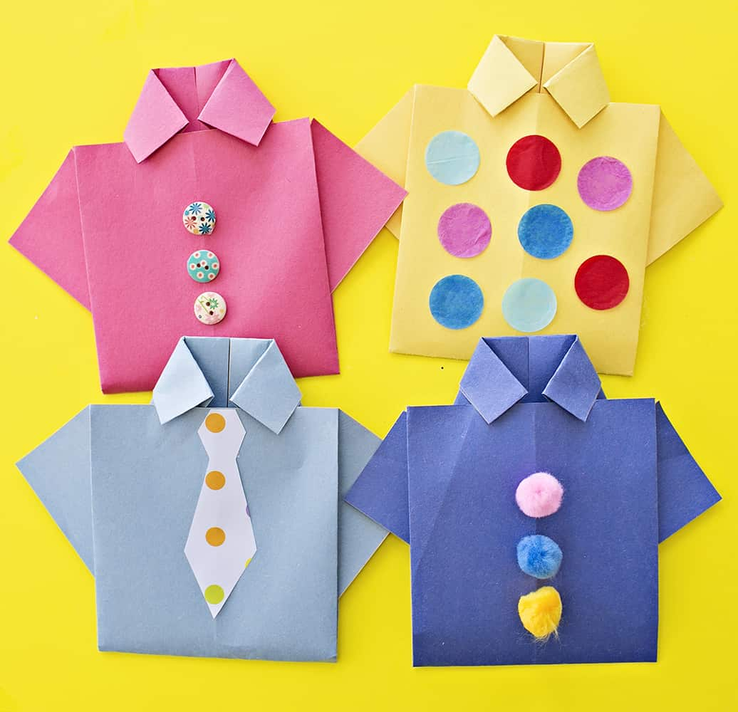 Origami T Shirt With Tie Easy Origami Shirt Fathers Day Card