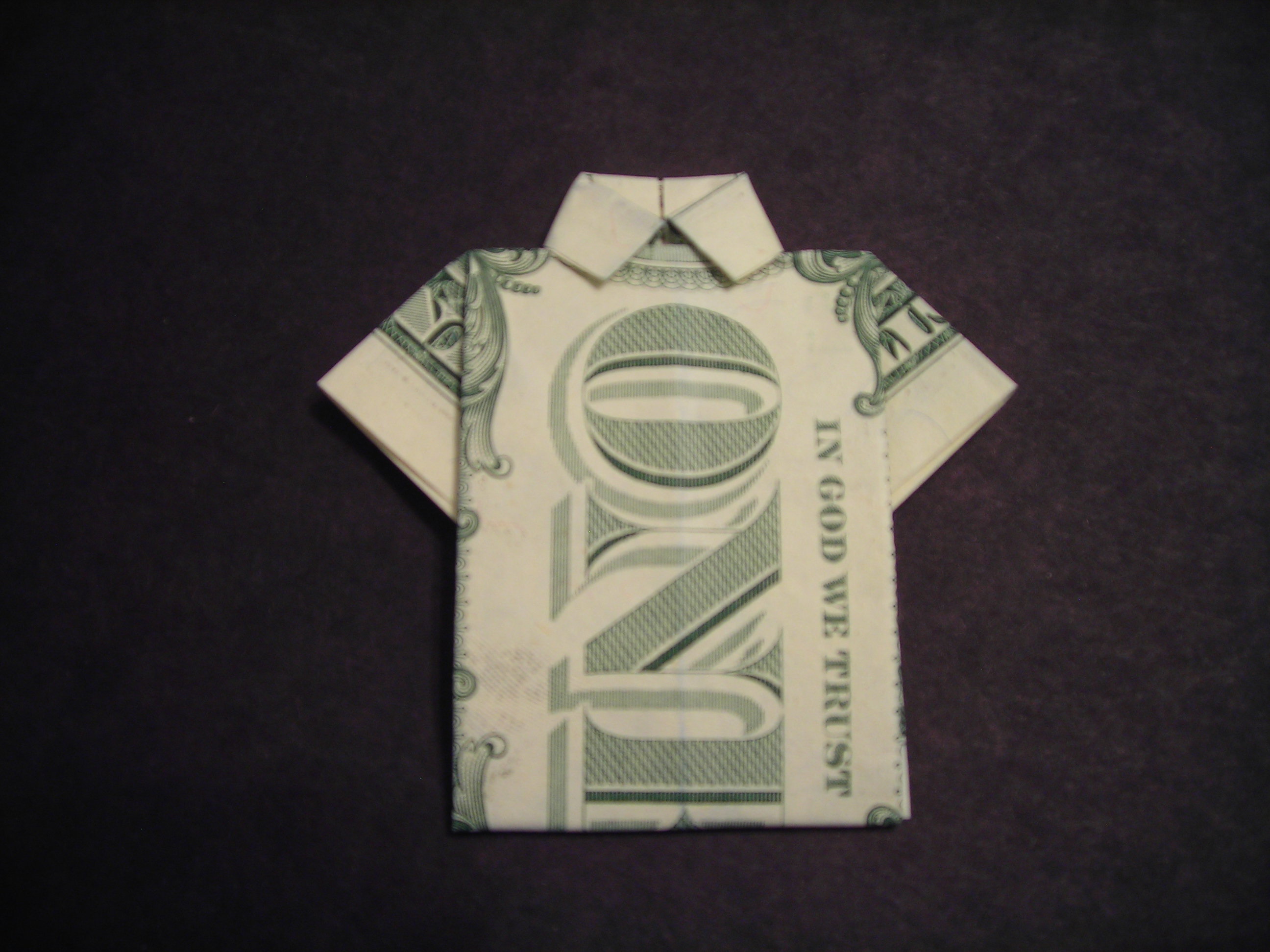 Origami T Shirt With Tie How To Fold A Dollar Bill Shirt 6 Steps