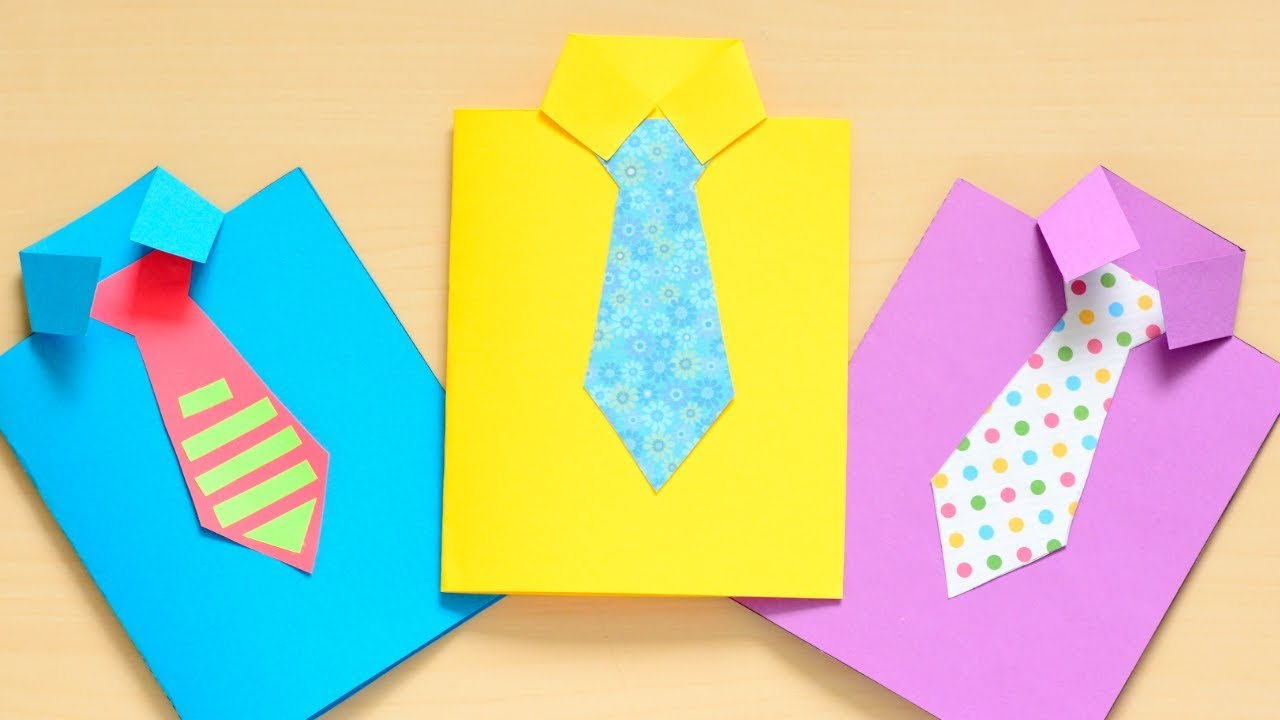 Origami T Shirt With Tie How To Make A Fathers Day Shirt Card Fun Paper Craft For Kids