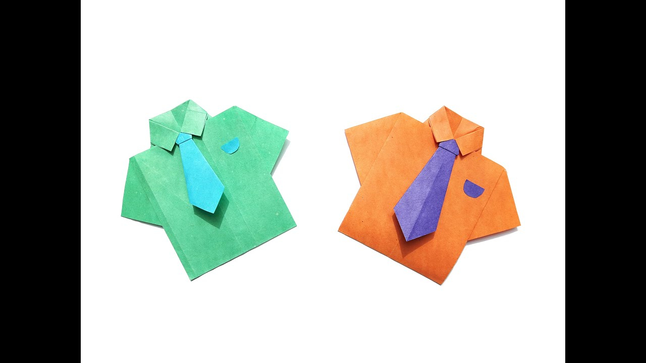 Origami T Shirt With Tie How To Make A Paper Shirt And Tie Easy Origami