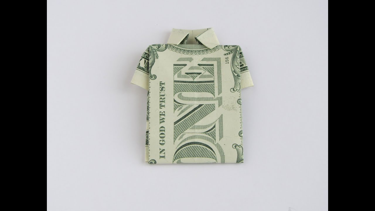 Origami T Shirt With Tie Origami Folding Instructions How To Make A Money Origami Shirt