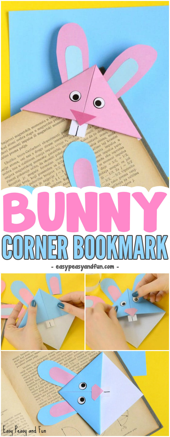 Origami Things For Kids Easter Bunny Corner Bookmark Diy Origami For Kids Easy Peasy And Fun
