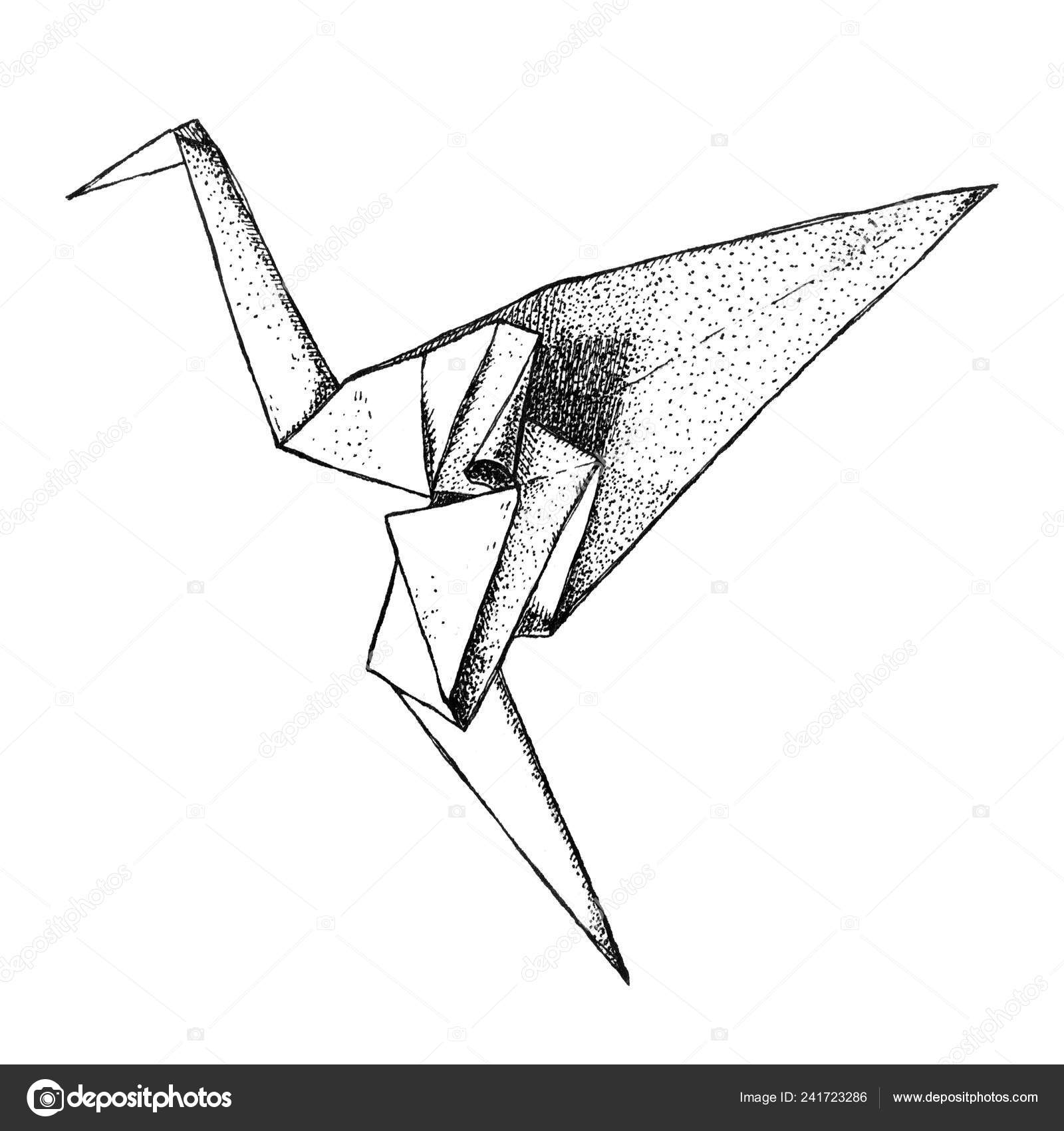 Paper Bird Origami Origami Crane Isolated Background East Art Origami Paper Bird Hand