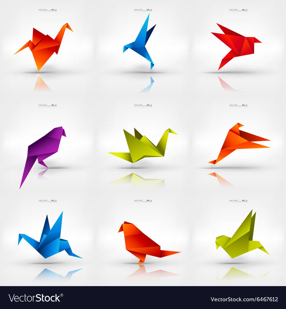 Paper Bird Origami Origami Paper Bird On Abstract Background Set