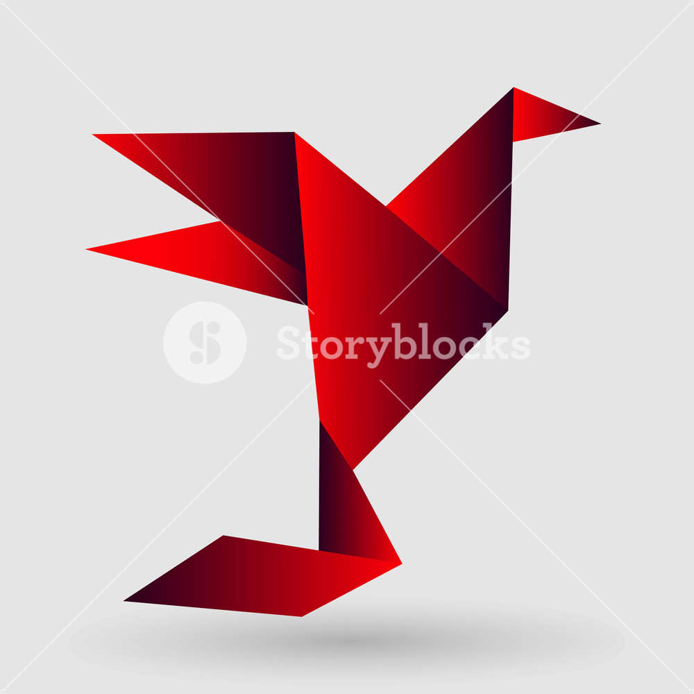 Paper Bird Origami Origami Paper Bird On Abstract Background Vector Illustration