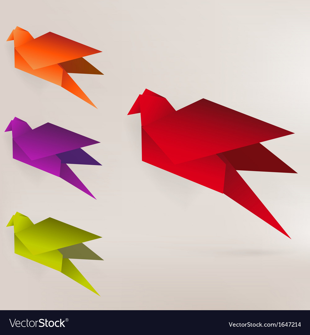 Paper Bird Origami Origami Paper Bird On Abstract Background