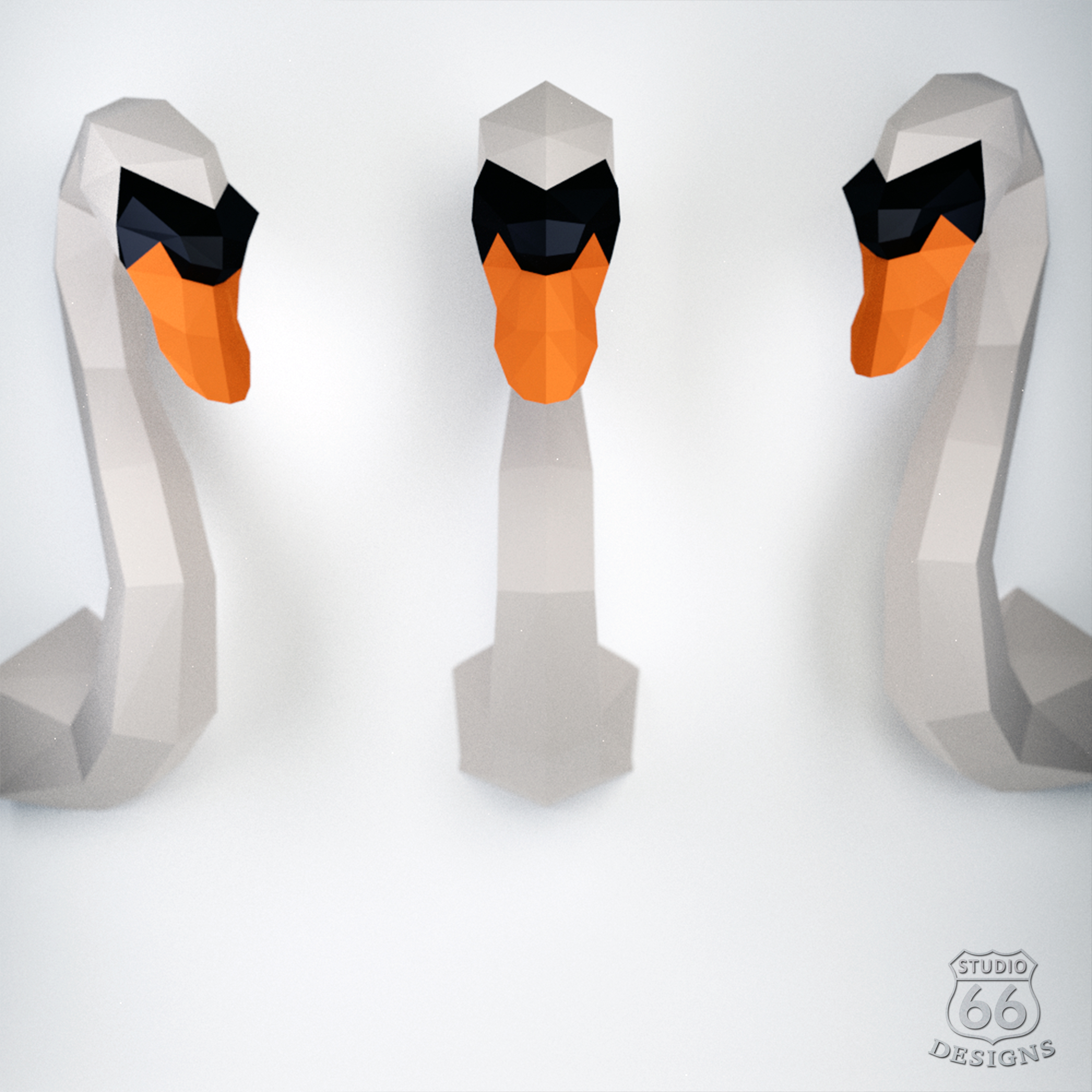 Paper Bird Origami Papercraft Swan Paper Craft Swan 3d Paper Craft Sculpture Paper Bird Origami Bird Decor Diy 3d Papercraft Lowpoly Statue Trophy Head