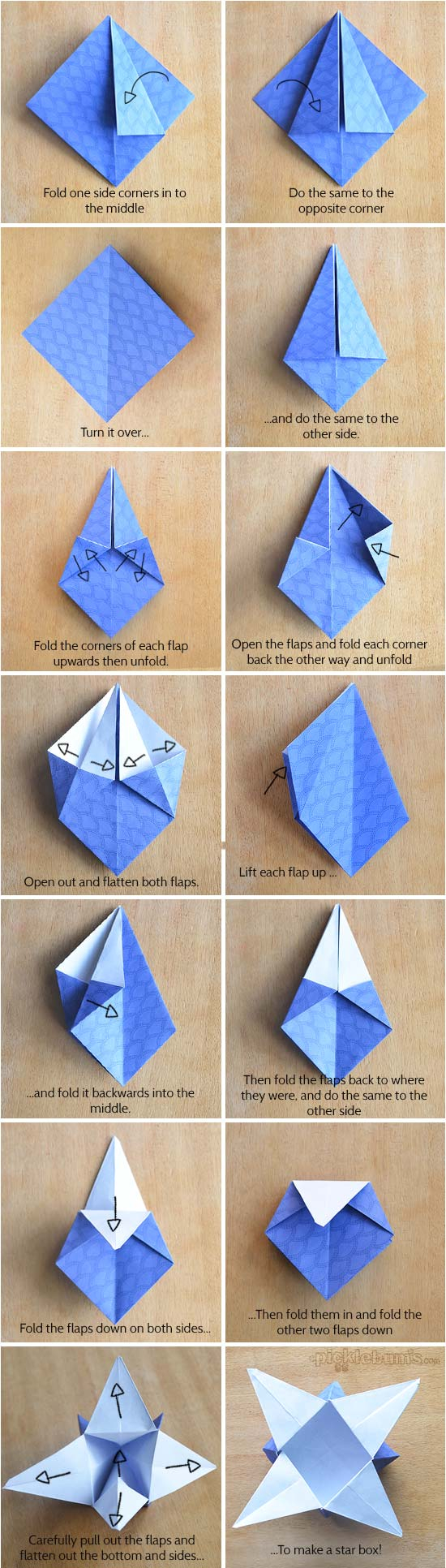 Printable Origami Box Instructions Origami Star Boxes With Printable Origami Paper Picklebums