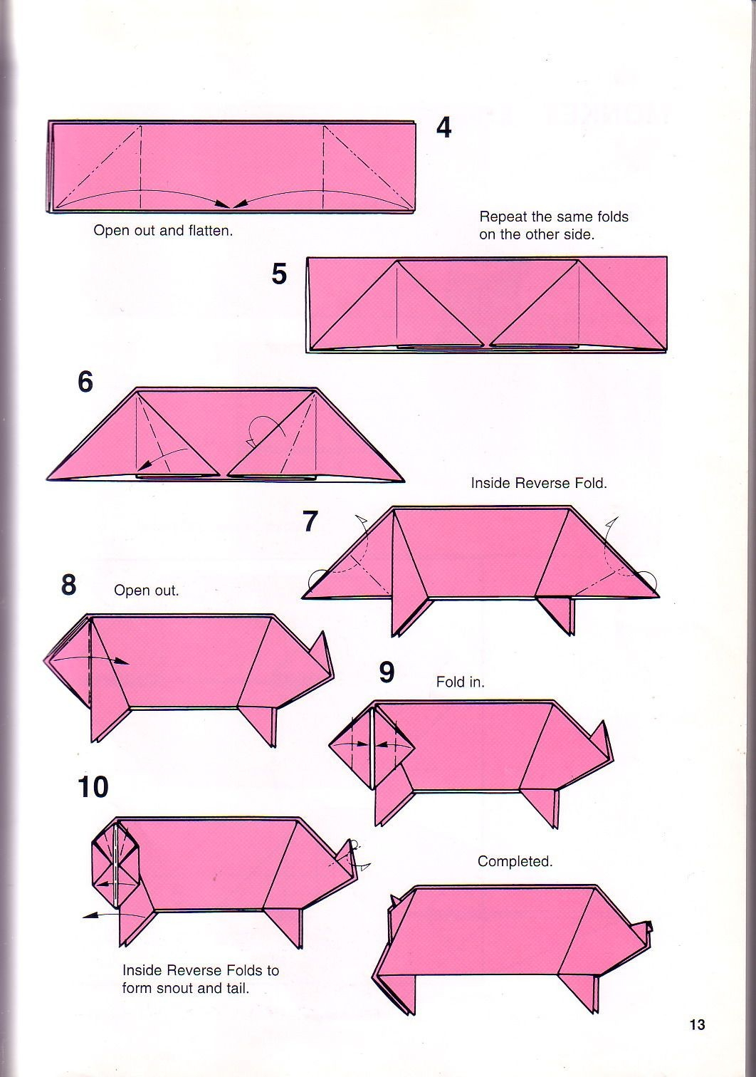 Printable Origami Box Instructions Pig Papercraft Very Simple Pig Origami Instructions 1 Papes