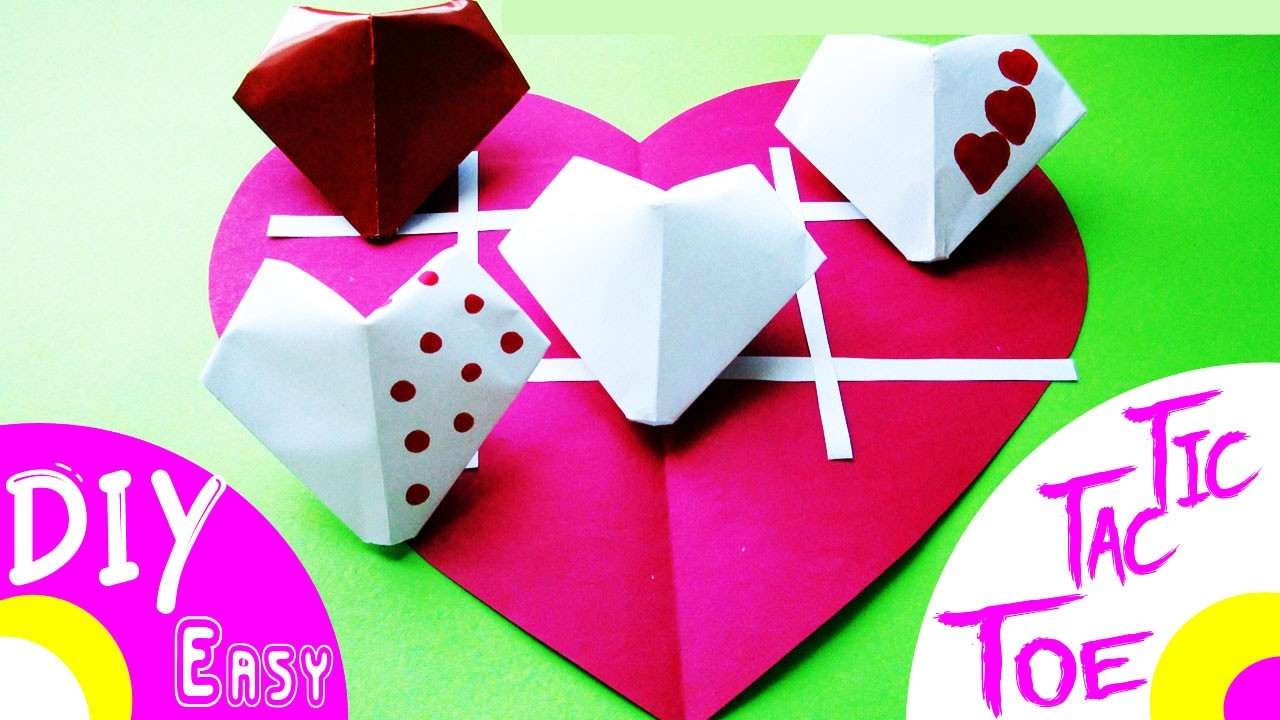 Puffy Heart Origami Diy Origami How To Make 3d Paper Puffy Heart Tic Tac Toe