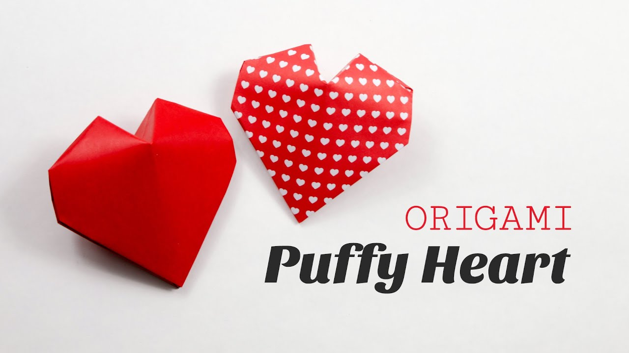 Puffy Heart Origami Origami Puffy Heart Instructions 3d Paper Heart Diy Paper Kawaii