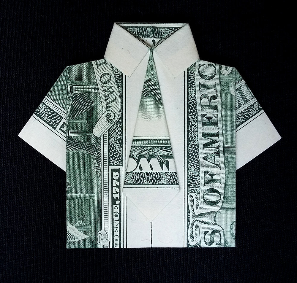 Shirt And Tie Money Origami Mini Dress Shirt With Tie Lucky Wallet Charm Money Origami Handmade Real Dollar Bill Finance Souvenir Short Sleeves Federal Reserve Banknote