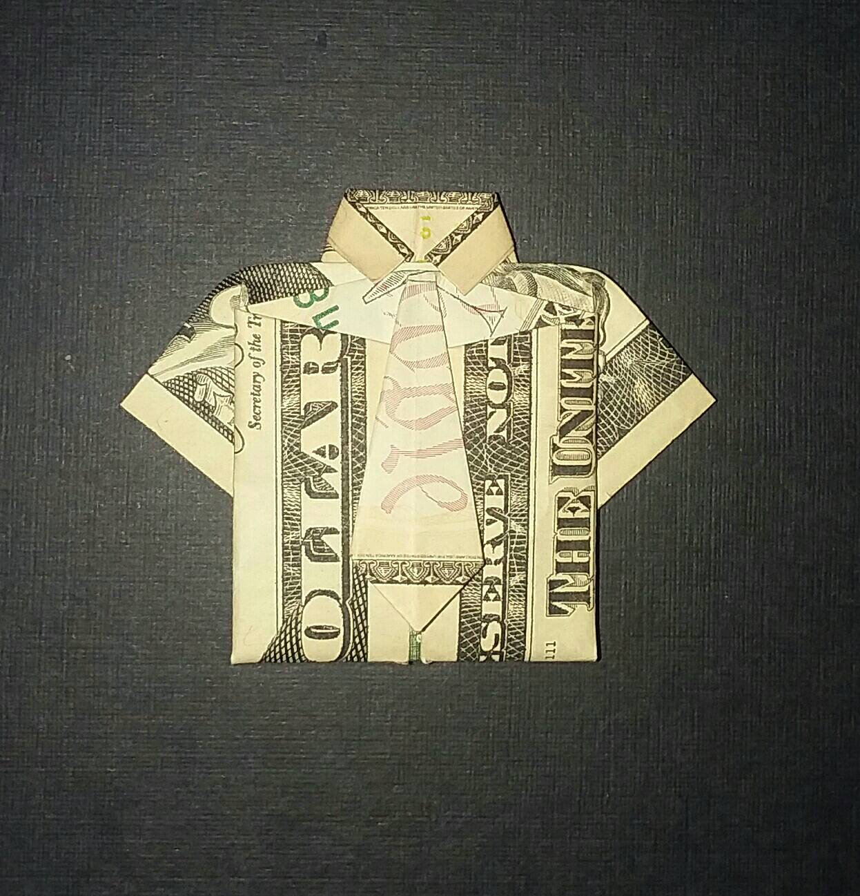 Shirt And Tie Money Origami Money Origami Shirt W Tie Real Dollar Bill Folded Gift For Him Formal Wedding Graduation